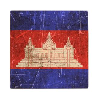 カンボジアのヴィンテージの老化させ、傷付けられた旗 ウッドコースター