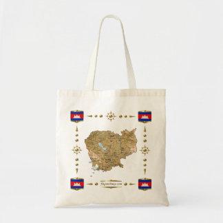 カンボジアの地図 + 旗のバッグ トートバッグ