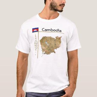 カンボジアの地図 + 旗 + タイトルのTシャツ Tシャツ
