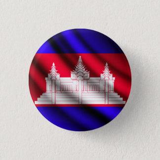 カンボジアの振る旗のpinbackボタン 3.2cm 丸型バッジ