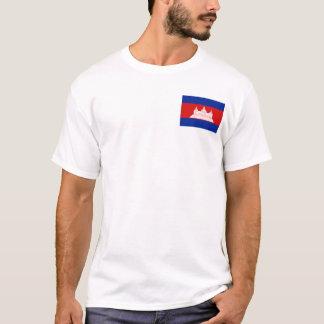 カンボジアの旗および地図のTシャツ Tシャツ