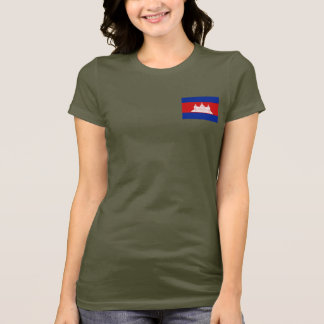 カンボジアの旗および地図dkのTシャツ Tシャツ