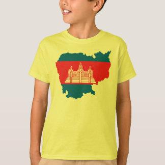カンボジアの旗の地図 Tシャツ