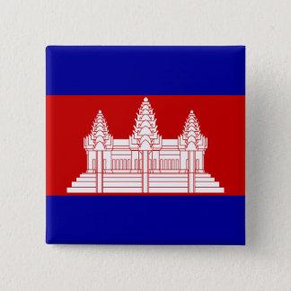 カンボジアの旗ボタン 5.1CM 正方形バッジ