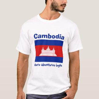 カンボジアの旗 + 地図 + 文字のTシャツ Tシャツ