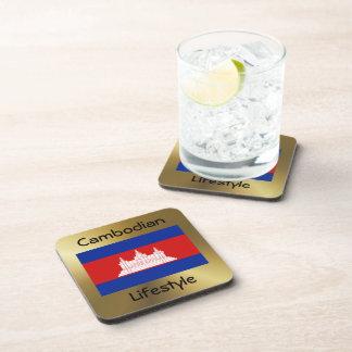 カンボジアの旗+文字のコースター コースター