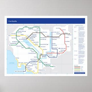 カンボジアの管の地図 ポスター