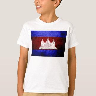 カンボジアの黒くグランジな旗 Tシャツ
