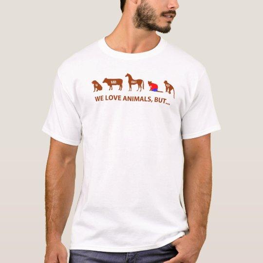 カンボジア語クメールTシャツ We Love Animals But.. Tシャツ