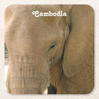 カンボジア象 スクエアペーパーコースター