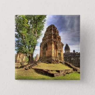カンボジア、アンコール・ワット。 Bakongの寺院の眺め 5.1cm 正方形バッジ