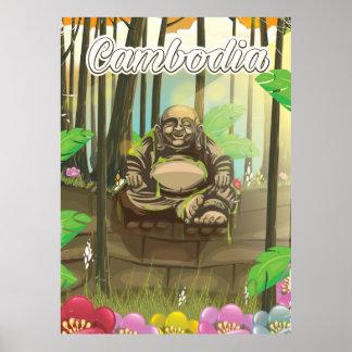 カンボジアBuddahのヴィンテージ旅行ポスター ポスター