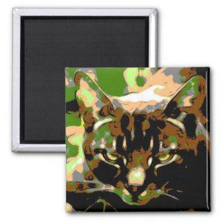 カーキ色の名前入りな猫の磁石 マグネット