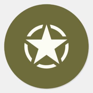 カーキ色の緑の星のステンシルヴィンテージ ラウンドシール
