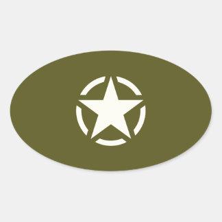 カーキ色の緑の星のステンシルヴィンテージ 楕円形シール