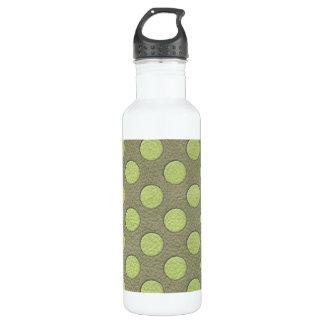 カーキ色の革プリントのLimeGreenの水玉模様 ウォーターボトル