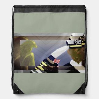カーキ色退役軍人の歴史のドローストリングバッグ- ナップサック