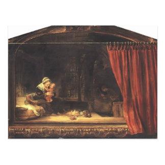 カーテンを持つレンブラントの神聖な家族 ポストカード