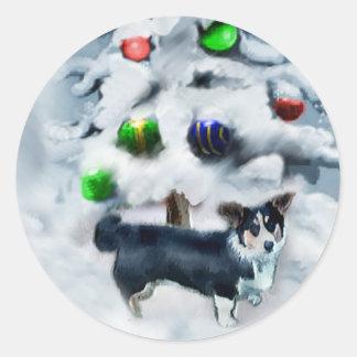 カーディガンのウェルシュコーギーのクリスマス ラウンドシール