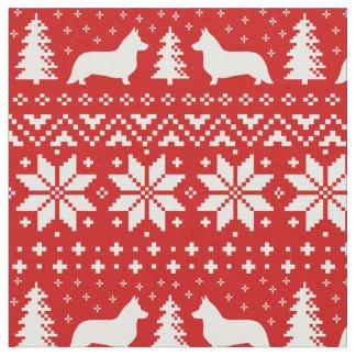 カーディガンのウェルシュコーギーのシルエットのクリスマスパターン ファブリック