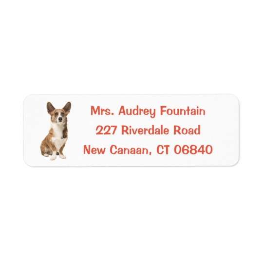 カーディガンのウェルシュコーギーの小犬 返信用宛名ラベル