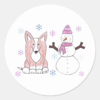 カーディガンのウェルシュコーギー及び雪だるま ラウンドシール