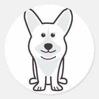 カーディガンのウェルシュコーギー犬の漫画 丸型シール