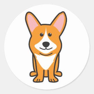 カーディガンのウェルシュコーギー犬の漫画 丸形シールステッカー