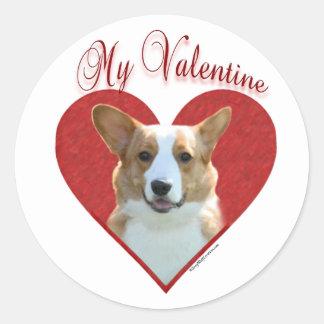 カーディガンのウェルシュコーギー私のバレンタイン-ステッカー 丸形シール・ステッカー