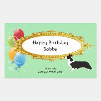 カーディガンのウェルシュコーギー-誕生日の気球 長方形シール・ステッカー