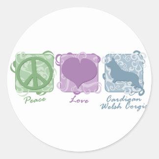 カーディガンのウェールズのパステル調の平和、愛およびコーギー 丸型シール