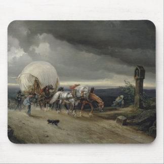 カートを引いている馬は丘1856年を持ち上げます マウスパッド