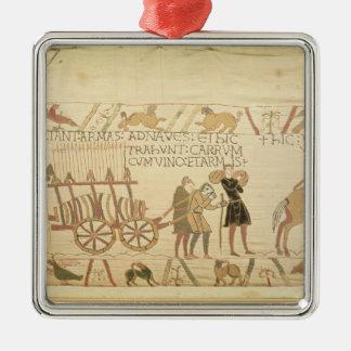 カートを引っ張っている人はワインおよび腕によって荷を積みました シルバーカラー正方形オーナメント