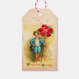 カードをつるすかわいいバレンタインの気球の挨拶 ギフトタグパック