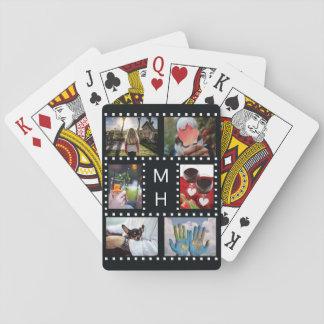 """カードを遊ぶあなたの写真及びモノグラム""""フィルムストリップ""""の トランプ"""