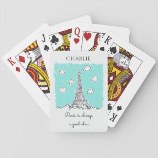 カードを遊ぶエッフェル塔のカスタムな文字 トランプ