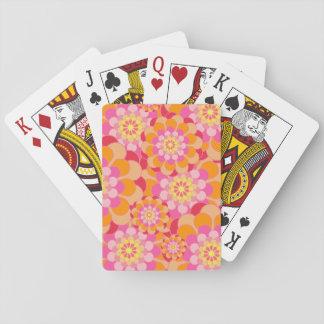 カードを遊ぶオレンジおよびピンクの花柄 トランプ