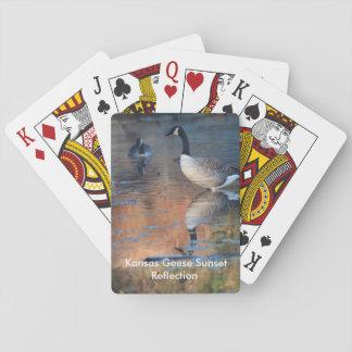 カードを遊ぶカンザスのガチョウの日没の反射 トランプ