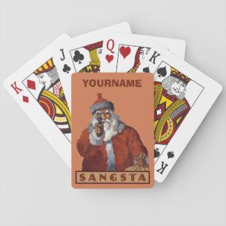 カードを遊ぶギャングのサンタの習慣 トランプ