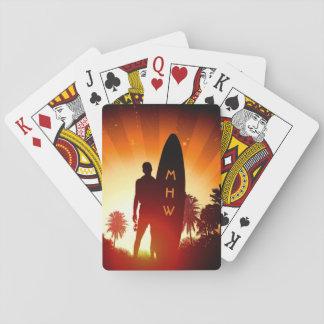 カードを遊ぶサーファーの日没のカスタムなモノグラム トランプ