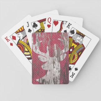 カードを遊ぶシカの素朴な休日の赤い白 トランプ