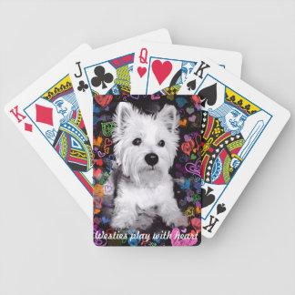 カードを遊ぶハートのWestiesの演劇 バイスクルトランプ