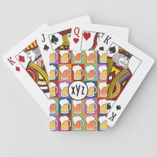 カードを遊ぶビールポップアートのカスタムなモノグラム トランプ