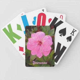 カードを遊ぶピンクの花のカスタム バイスクルトランプ