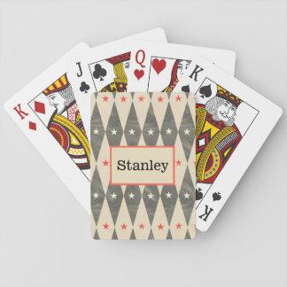 カードを遊ぶモノグラムの名前入りで赤く黒いトランプのポーカー トランプ