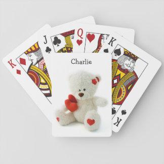 カードを遊ぶ愛テディの名前をカスタムする トランプ