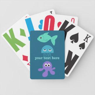 カードを遊ぶ海の創造物のカスタム バイスクルトランプ