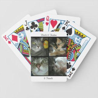 カードを遊ぶ花びら及び羽及び友人 バイスクルトランプ