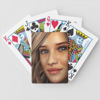 カードを遊ぶ若い女の子のポートレート バイスクルトランプ