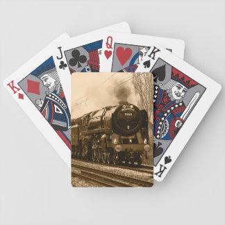 カードを遊ぶ蒸気の列車機関車 バイスクルトランプ